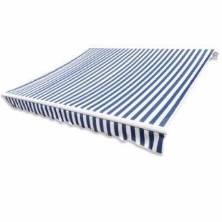 Plachta na markýzu 336 x 246 cm plátěná Bílá / modrá