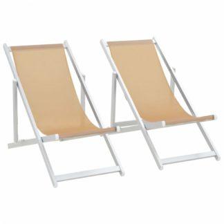 Skládací plážová křesla 2 ks hliník / textilen Krémová