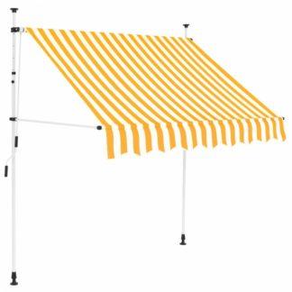 Zatahovací markýza 150x120 cm Dekorhome Bílá / žlutá