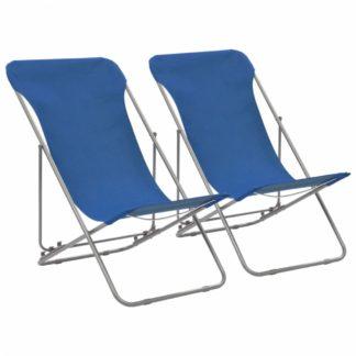 Skládací plážová křesla 2 ks ocel / oxfordská látka Modrá
