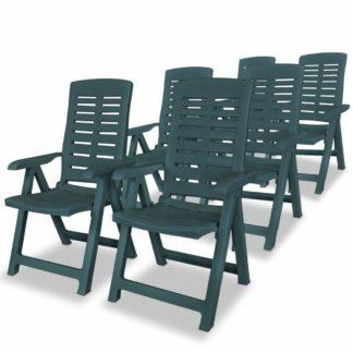 Polohovatelné zahradní židle 6 ks plast Zelená