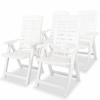 Polohovatelné zahradní židle 4 ks plast Bílá