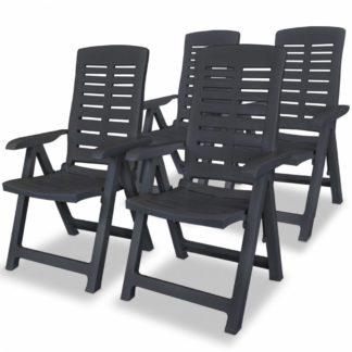 Polohovatelné zahradní židle 4 ks plast Antracit