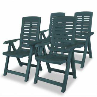 Polohovatelné zahradní židle 4 ks plast Zelená