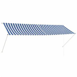 Zatahovací markýza 350x150 cm Dekorhome Bílá / modrá