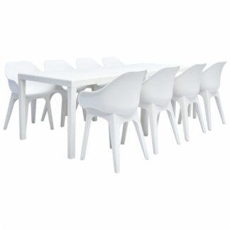 Zahradní jídelní set 9 ks plast Bílá