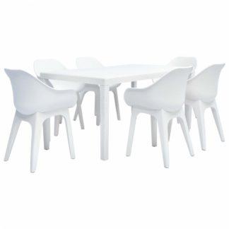 Zahradní jídelní set 7 ks plast Bílá