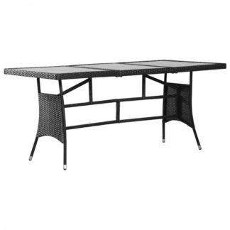 Zahradní stůl 170 x 80 cm černý polyratan