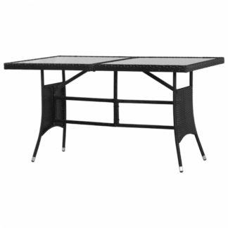 Zahradní stůl 140 x 80 cm černý polyratan