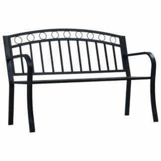 Ocelová zahradní lavička černá