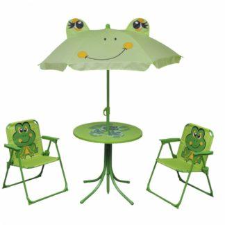 Dětský zahradní set se slunečníkem Dekorhome Zelená