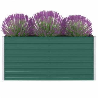Vyvýšený zahradní truhlík 160 x 80 x 77 cm pozinkovaná ocel Zelená