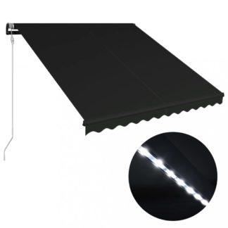 Zatahovací markýza se senzorem větru a LED světlem 350x250 cm Dekorhome Antracit