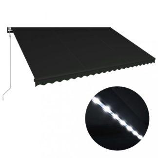 Zatahovací markýza se senzorem větru a LED světlem 500x300 cm Dekorhome Antracit
