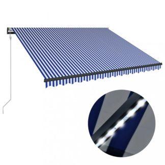 Zatahovací markýza s větrným senzorem a LED světlem 300x250 cm Dekorhome Bílá / modrá