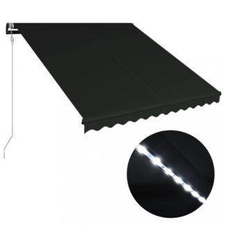 Zatahovací markýza s větrným senzorem a LED světlem 300x250 cm Dekorhome Antracit