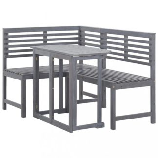 Rohová sedací souprava na balkon akáciové dřevo šedá Dekorhome