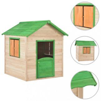 Dětský dřevěný domek Dekorhome Zelená