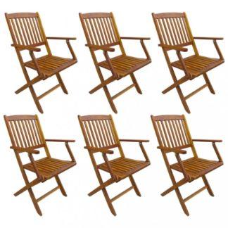 Skládací zahradní židle 6 ks akáciové dřevo Dekorhome