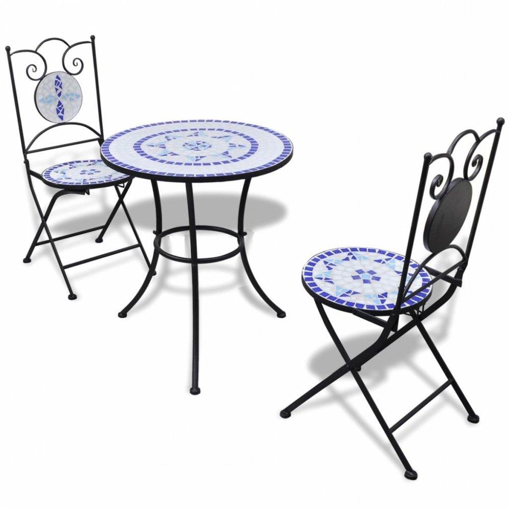 Zahradní mozaikový set 3 ks keramika Dekorhome Modrá