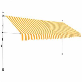 Ručně zatahovací markýza 400 cm Dekorhome Bílá / žlutá