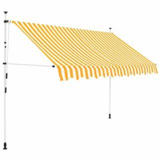 Ručně zatahovací markýza 250 cm Dekorhome Bílá / žlutá
