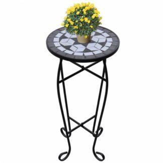 Mozaikový stolek na květiny keramika Dekorhome Černá