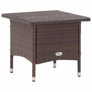 Zahradní čajový stolek polyratan Dekorhome Hnědá