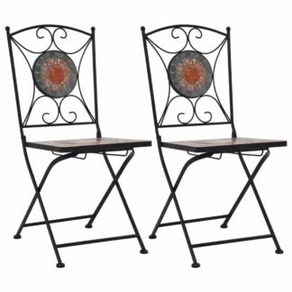 Mozaikové bistro židle 2 ks keramika Dekorhome Šedá / oranžová