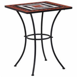 Mozaikový bistro stolek keramika Dekorhome Bílá / oranžová