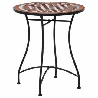 Mozaikový bistro stolek keramika Dekorhome Hnědá