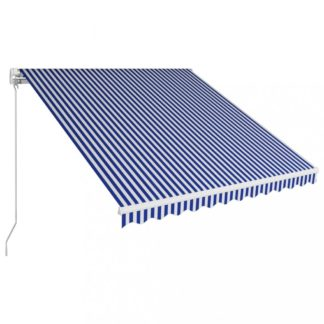 Ručně zatahovací markýza 300x250 cm Dekorhome Bílá / modrá