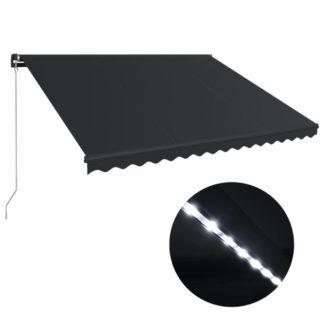 Ručně zatahovací markýza s LED světlem 450x300 cm Dekorhome Antracit