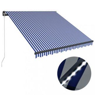 Ručně zatahovací markýza s LED světlem 350x250 cm Dekorhome Bílá / modrá