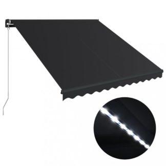 Ručně zatahovací markýza s LED světlem 350x250 cm Dekorhome Antracit