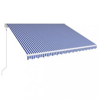 Automatická zatahovací markýza 400x300 cm Dekorhome Bílá / modrá