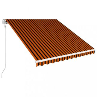 Automatická zatahovací markýza 350x250 cm Dekorhome Hnědá / oranžová