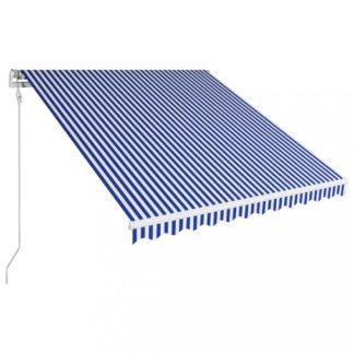 Automatická zatahovací markýza 350x250 cm Dekorhome Bílá / modrá