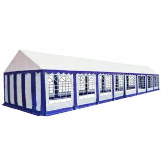 Zahradní altán PVC 6 x 16 m Dekorhome Bílá / modrá