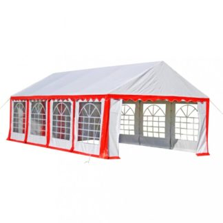 Zahradní altán PVC 4 x 8 m Dekorhome Bílá / červená