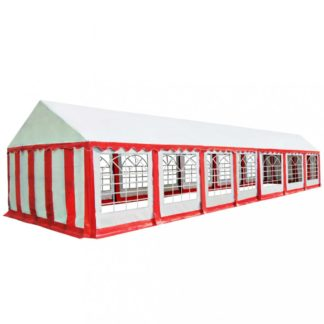 Zahradní altán PVC 6 x 14 m Dekorhome Bílá / červená