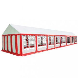 Zahradní altán PVC 6 x 16 m Dekorhome Bílá / červená