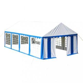 Zahradní altán PVC 4 x 8 m Dekorhome Bílá / modrá