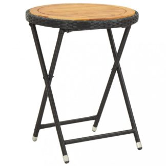 Zahradní čajový stolek polyratan Dekorhome Hnědá / černá