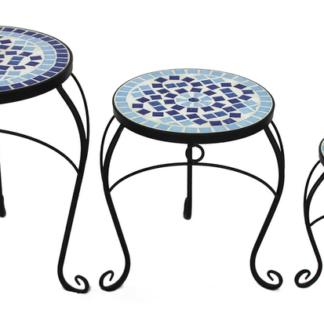 Sada stolků (3 ks) Mosaic, černá/modrá