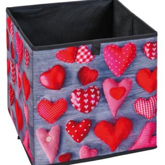 Úložný box Heart 2, motiv srdce se vzorem