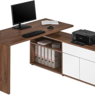 Asko Rohový psací stůl Model 4020, dub stirling/bílý lesk