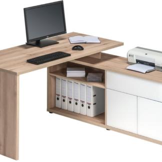 Asko Rohový psací stůl Model 4020, buk/bílý lesk