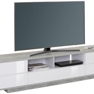 Asko Široká TV skříňka Typ 7714, beton/bílý lesk