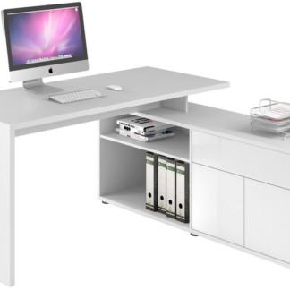 Asko Rohový psací stůl Model 4020, bílý/bílý lesk